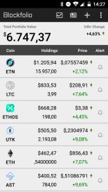 Évolution de portefeuille crypto au 23 février 2018